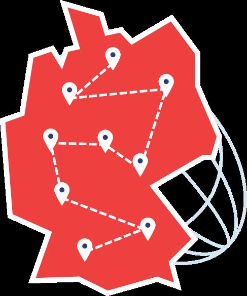Rote Deutschlandkarte mit einer Netzwerkstruktur